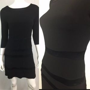 Sandro Paris Satin Stripe 3/4 Sleeve Flare Dress